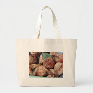Bolsa Tote Grande Frutas do outono. Close up de figos secados com