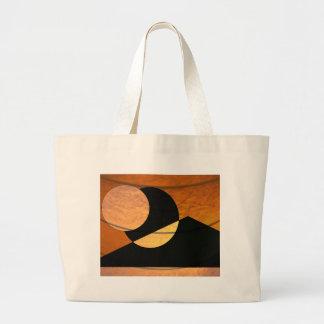Bolsa Tote Grande Fulgor dos planetas, preto e cobre, design gráfico