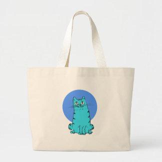 Bolsa Tote Grande gatinho doce dos desenhos animados do gato azul