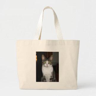 Bolsa Tote Grande Gato de gato malhado com os olhos verdes grandes