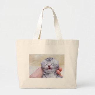 Bolsa Tote Grande Gato de gato malhado de prata recém-nascido