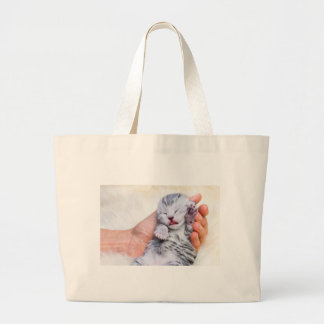Bolsa Tote Grande Gato de gato malhado de prata recém-nascido do