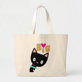 """Bolsa Tote Grande Gato preto dos desenhos animados que mostra """"o"""