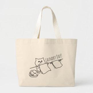 Bolsa Tote Grande Gato que cavilha para fora o lavagem