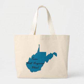 Bolsa Tote Grande Gire West Virginia azul! Orgulho Democrática