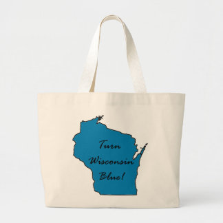 Bolsa Tote Grande Gire Wisconsin azul! Orgulho Democrática!