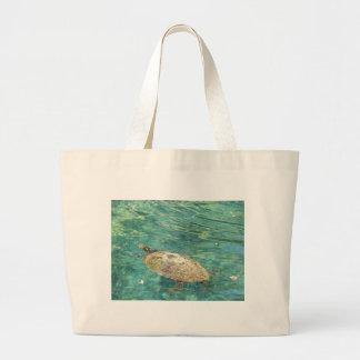 Bolsa Tote Grande grande natação da tartaruga do rio