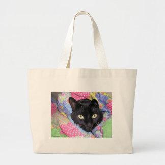 Bolsa Tote Grande Grande sacola: Gato engraçado envolvido nas