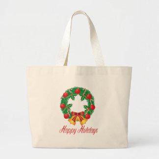 Bolsa Tote Grande Grinalda do Natal com ornamento Bels e doces