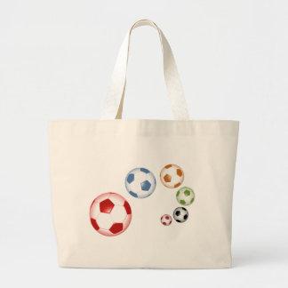 Bolsa Tote Grande Grupo bonito de bolas de futebol