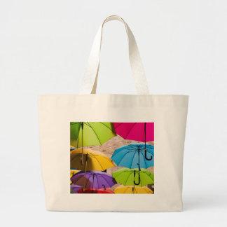 Bolsa Tote Grande Guarda-chuvas coloridos
