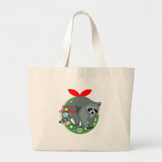 Bolsa Tote Grande guaxinim do Feliz Natal