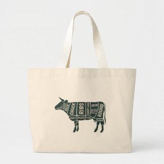 Bolsa Tote Grande Guia da seleção da vaca do carniceiro
