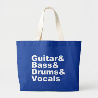 Bolsa Tote Grande Guitar&Bass&Drums&Vocals (branco)