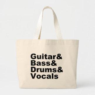 Bolsa Tote Grande Guitar&Bass&Drums&Vocals (preto)