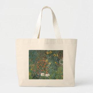 Bolsa Tote Grande Gustavo Klimt - flores dos girassóis do jardim do