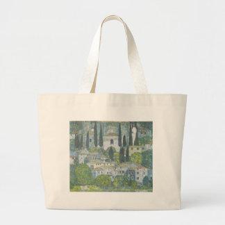 Bolsa Tote Grande Gustavo Klimt - igreja no trabalho de arte de