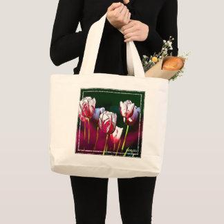 Bolsa Tote Grande HAMbWG - sacola - tulipas do branco & do vermelho