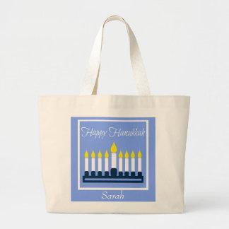 Bolsa Tote Grande Hanukkah feliz Menorah personalizado