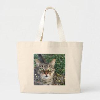 """Bolsa Tote Grande """"Hey você"""" diz este gato"""