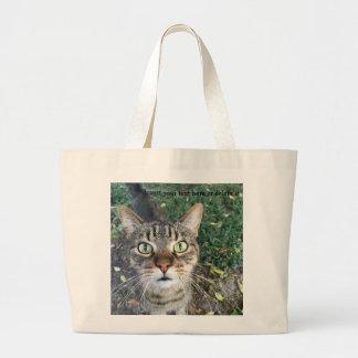 """Bolsa Tote Grande """"Hey você"""" diz o gato - sacola enorme"""