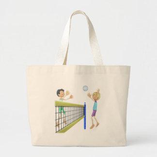 Bolsa Tote Grande Homens dos desenhos animados que jogam o voleibol
