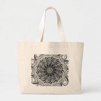 Bolsa Tote Grande Ilusão óptica do Doodle ornamentado do zen preto e