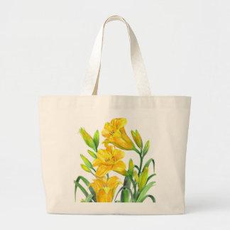 Bolsa Tote Grande Ilustração floral de Lillies do dia amarelo da