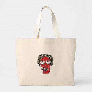 Bolsa Tote Grande Ilustração grotesco da caricatura do homem
