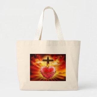 Bolsa Tote Grande Ilustração sagrado do cristão do coração