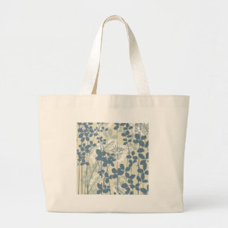 Bolsa Tote Grande Impressão azul floral das flores da arte asiática