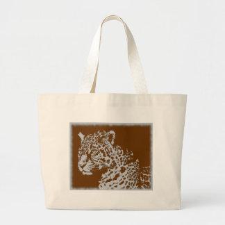Bolsa Tote Grande Impressão felino do leopardo do gato grande do