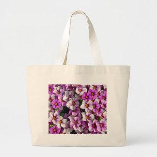Bolsa Tote Grande Impressão floral bonito dos petúnias cor-de-rosa e