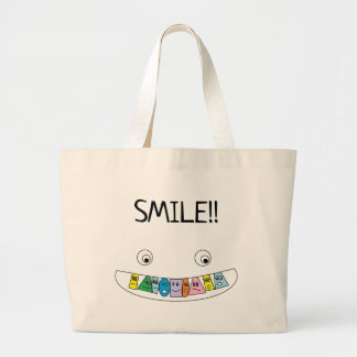 Bolsa Tote Grande Impressão Toothy da boca do smiley do divertimento