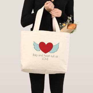 Bolsa Tote Grande Impressão voado bonito do coração do amor