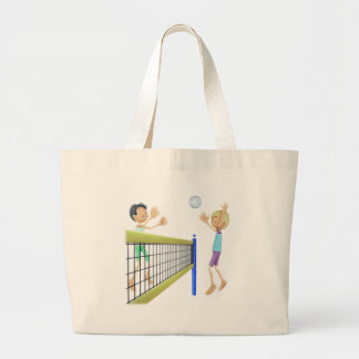 Bolsa Tote Grande Jogadores de voleibol da praia dos desenhos