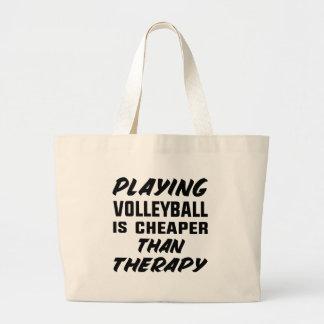 Bolsa Tote Grande Jogar o voleibol é mais barato do que a terapia