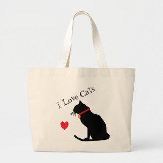Bolsa Tote Grande Jumbo eu amo o coração vermelho dos gatos e o