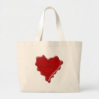 Bolsa Tote Grande Kathryn. Selo vermelho da cera do coração com