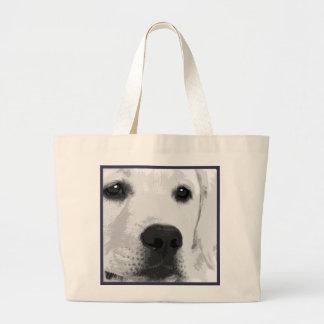 Bolsa Tote Grande Labrador retriever preto e branco