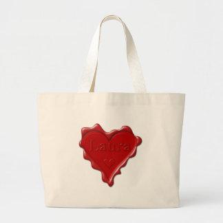 Bolsa Tote Grande Laura. Selo vermelho da cera do coração com Laura