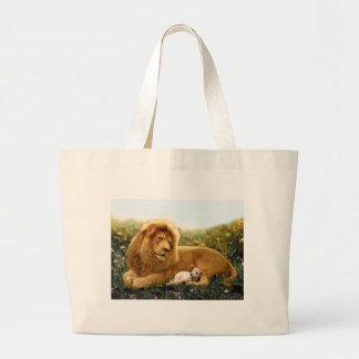 Bolsa Tote Grande Leão e cordeiro