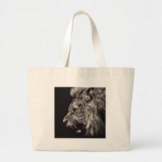 Bolsa Tote Grande Leão masculino irritado