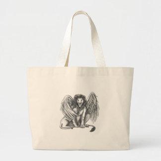 Bolsa Tote Grande Leão voado que protege o tatuagem de Cub