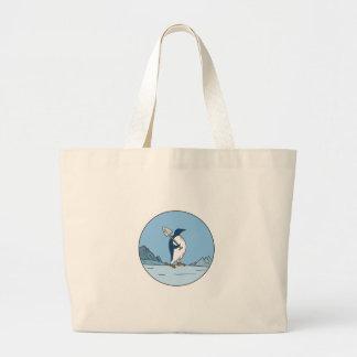 Bolsa Tote Grande Linha do círculo de Antartica da pá do pinguim de