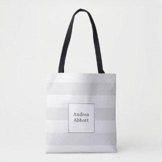 Bolsa Tote Grande listra cinzenta com crachá quadrado