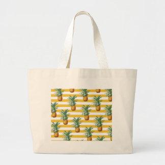 Bolsa Tote Grande listras amarelas dos pinepples