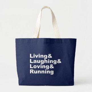 Bolsa Tote Grande Living&Laughing&Loving&RUNNING (branco)