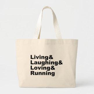 Bolsa Tote Grande Living&Laughing&Loving&RUNNING (preto)