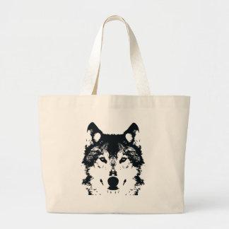 Bolsa Tote Grande Lobo preto da ilustração